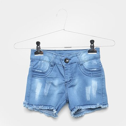 Short Jeans Infantil Grifle Desfiado Feminino