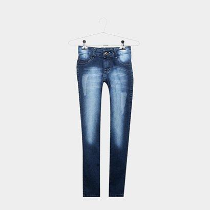 Calça Jeans Infantil Grifle Estonada Cintura Média Feminina