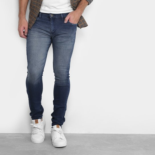 3280fbef Calça Jeans Skinny Preston Estonada Masculina - Azul