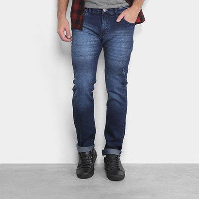 Calça Jeans Skinny Preston Escura Puídos Masculina