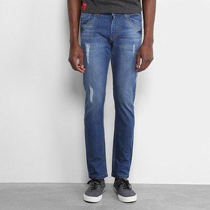 Calça Jeans Slim Zamany Puídos Masculina