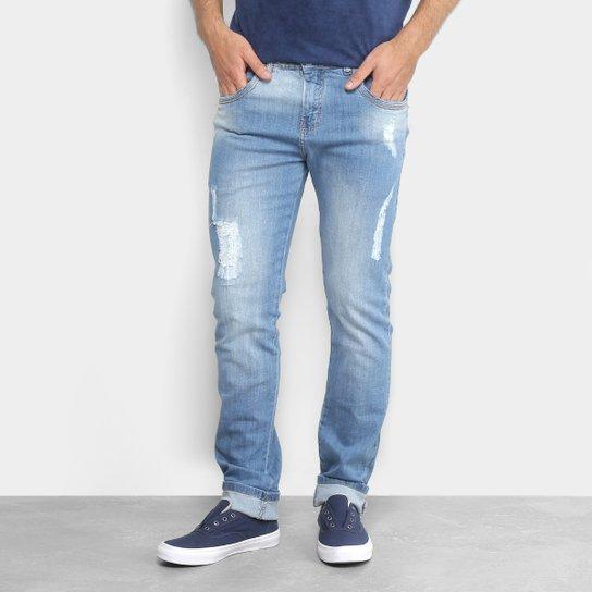 087f7a828b Calça Jeans Slim Zamany Elástico Lavagem Clara Rasgados Masculina - Azul  Claro