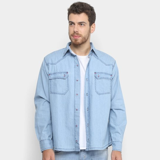 3cef2266e72dd7 Camisa Jeans Zamany Manga Longa Delavê Masculina - Azul Claro | Netshoes