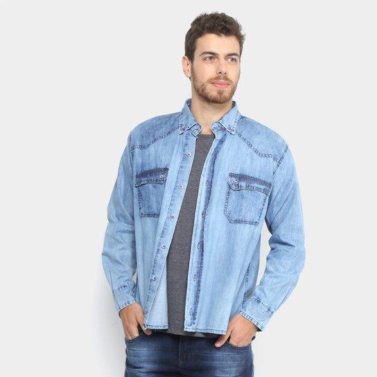 95f8803a36685c Camisa Jeans Zamany Jacquard Delave Masculina - Azul Claro | Netshoes