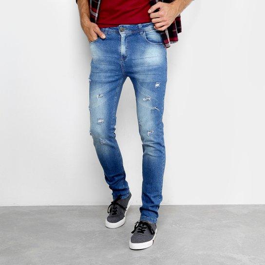 06c71f688 Calça Jeans Slim Copen Puídos Estonada Masculina - Azul | Netshoes