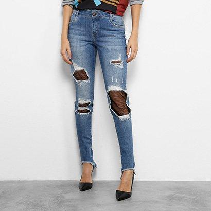 Calça Jeans Skinny Morena Rosa Andreia Barra Assimétrica Meia Arrastão Feminina