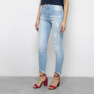 a5233524d Calça Jeans Slim Morena Rosa Giane Barra Cropped Desfiada Cintura Alta  Feminina
