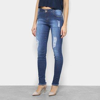 f64c3ff77 Calça Jeans Skinny Morena Rosa Puídos Cintura Média Feminina