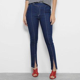 c7dfdb3ad Calça Jeans Skinny Morena Rosa Isabelli Pespontos Fendas Cintura Média  Feminina