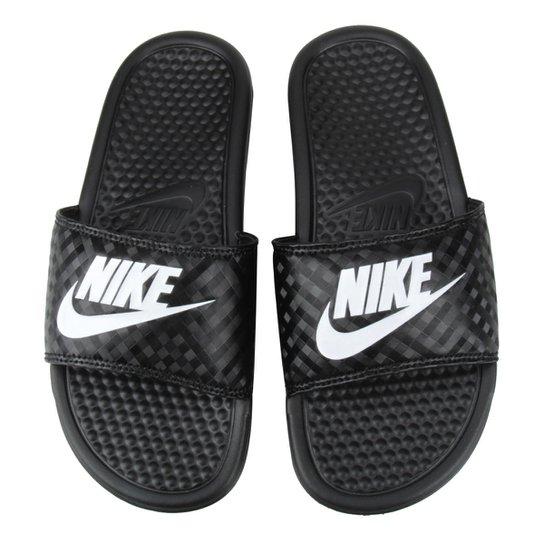 Sandália Nike Benassi JDI Slide Feminina - Preto e Branco - Compre ... f387de0c4a2d7