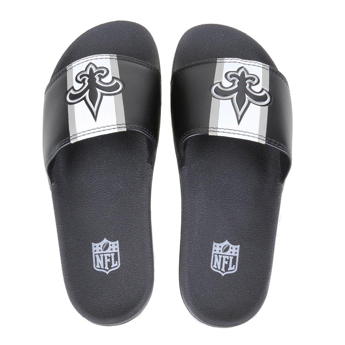 Chinelo NFL New Orleans Saints New Era Slide Logo Masculino