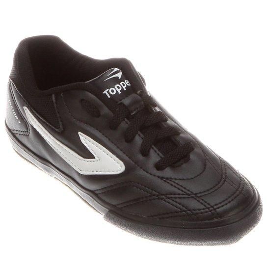 Chuteira Topper Dominator 3 Futsal Infantil - Preto e Branco ... 059e003360aa4