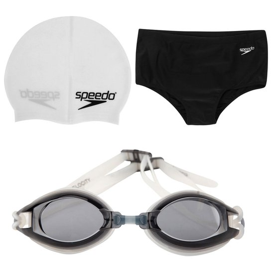 Kit Nadador - Sunga Speedo Solid 17 cm + Touca Speedo Slim + Óculos Speedo  Velocity f13441ccf7
