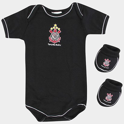 Conjunto Corinthians Body Manga Curta Com Pantufa Infantil