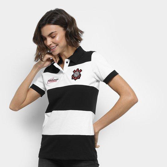Camisa Polo Corinthians Democracia 1982 Feminina - Preto e Branco ... d8e19a2dc5442