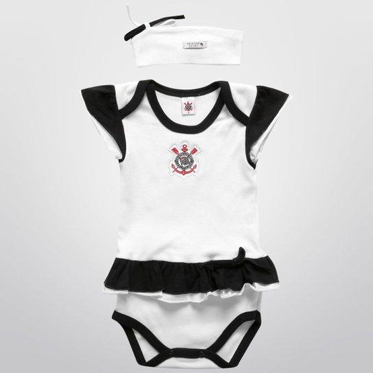 eb6e6011453441 Body Corinthians Infantil Vestido c/ Tiara - Preto e Branco