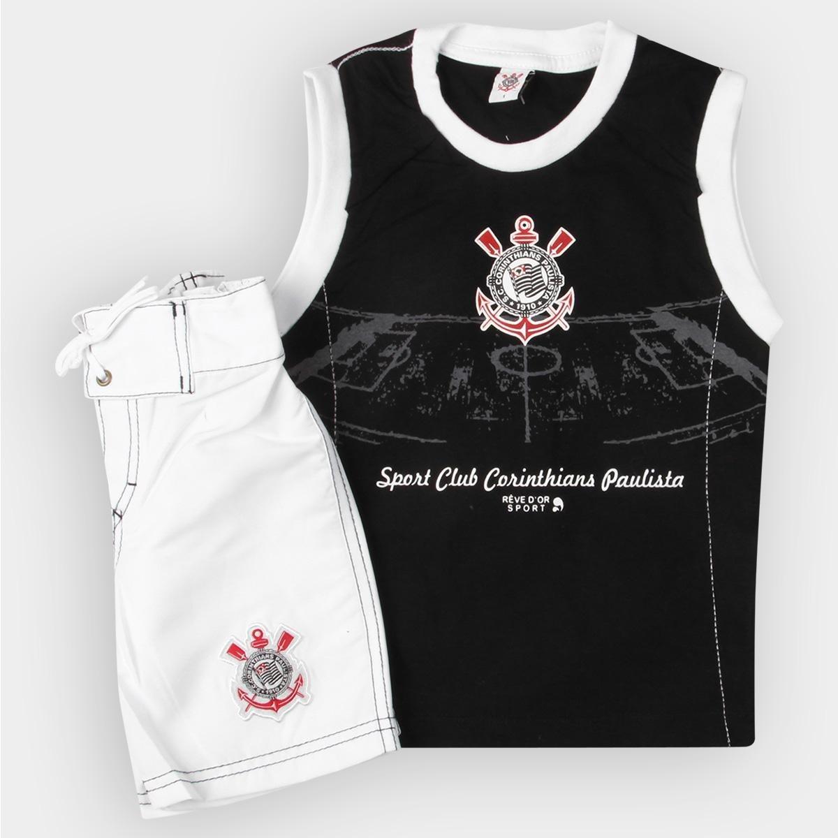 a3e1d5ebd Conjunto Corinthians Infantil Bermuda e Regata