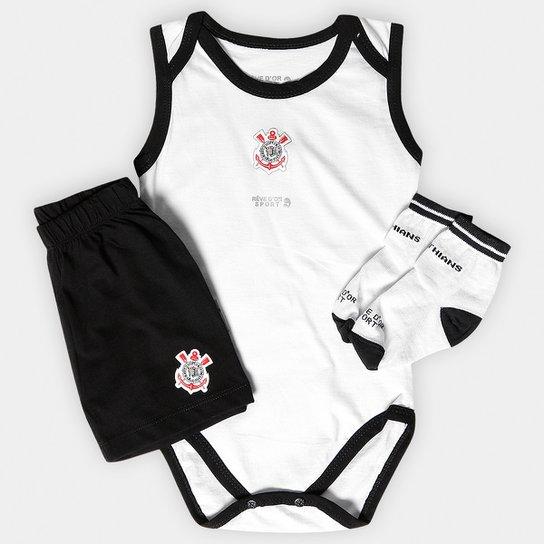 Conjunto Corinthians Infantil Body Regata Shorts e Meia - Preto+Branco a59d50aadbdff