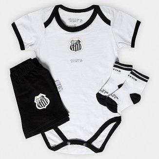 Conjunto Body Shorts e Meia Santos Bebê b3568fc8a95dc