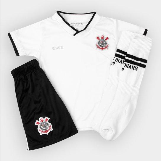 Conjunto Corinthians Infantil Dry Uniforme Campo - Preto e Branco ... 9578fdea2b47e