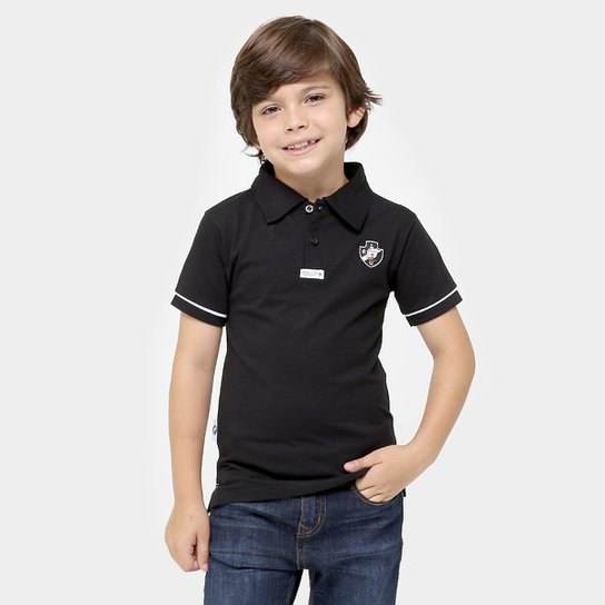 c25b384063d23 Camisa Polo Juvenil Vasco - Preto e Branco - Compre Agora
