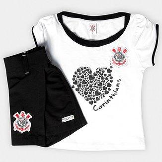 b1b6583586 Conjunto Baby Look e Short-Saia Corinthians Infantil