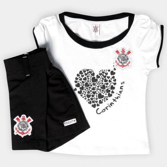 Conjunto Baby Look e Short-Saia Corinthians Infantil - Preto+Branco d1e6643bc2bee