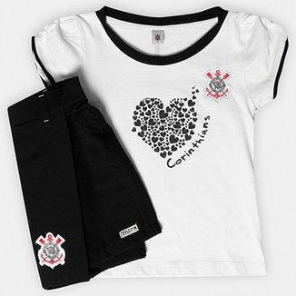 Conjunto Corinthians Juvenil Baby Look e Short-Saia 4796e69e50695