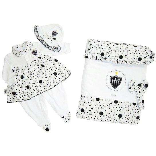 9857d2efa Saída Maternidade Suedine Vestido Menina Atlético Mineiro Reve Dor -  Preto+Branco