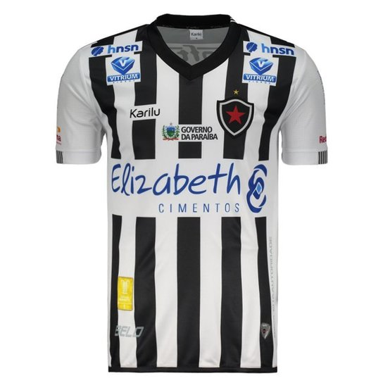 Camisa Karilu Botafogo PB I 2018 Masculina - Preto e Branco - Compre ... 3fe07c47f358d