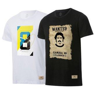 211f2255fc ... Kit 2 Camisas Casuais Retrô Gol Ídolos Sócrates Rivelino Ex-Corinthians  de88bf68df594f ...