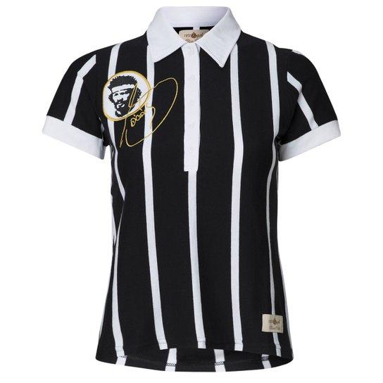 00c9d566f0 Camisa Baby Look Retrô Gol Sócrates Ex - Corinthians Feminina - Preto+Branco