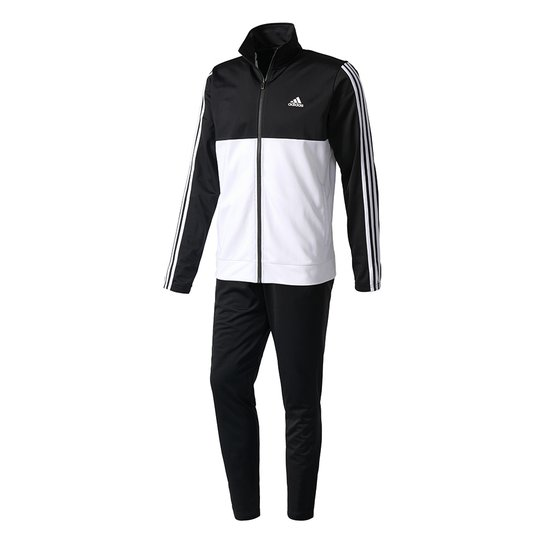 4fdcd8f296b Agasalho Adidas Back2basics 3-Stripes - Preto+Branco ...