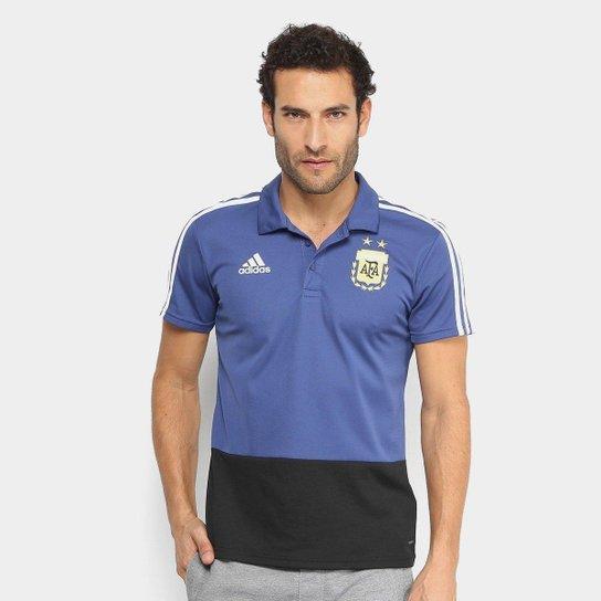 3be8cff0d6335 Camisa Polo Argentina Adidas Masculina - Azul e Preto - Compre Agora ...