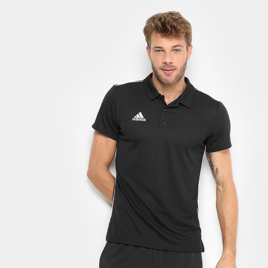 Camisa Polo Adidas Core 18 Masculina - Preto e Branco - Compre Agora ... 6e96ac59272