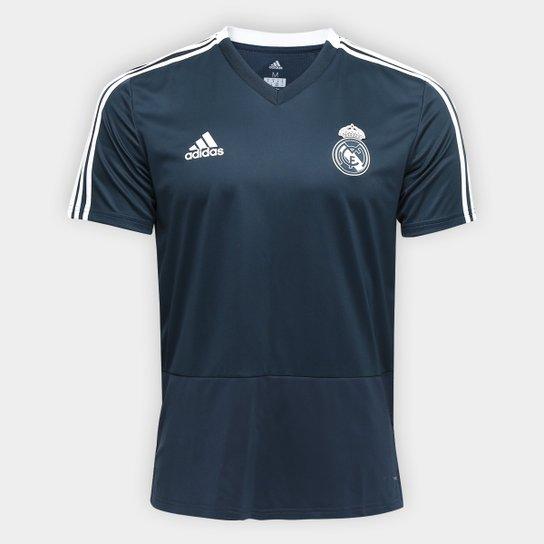 01e7cb01b3787 Camisa Real Madrid Treino 2018 Adidas Masculina - Preto e Branco ...