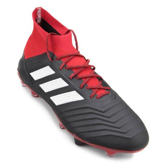 Chuteira Campo Adidas Predator 18 1 FG - Preto e Vermelho - Compre ... c126b8f3f4ca2