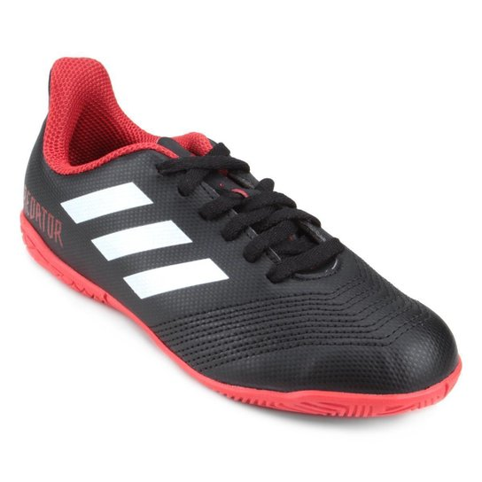 Chuteira Futsal Infantil Adidas Predator 18 4 IN - Preto e Branco ... b19b2ad2cd965