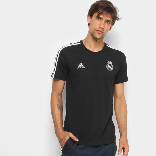 5eef32eb8487d Camiseta Real Madrid 3Stripes Adidas Masculina - Preto e Branco ...