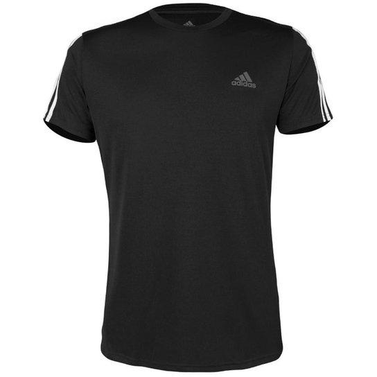 1f2372d86ec Camiseta Adidas Run 3Stripes Masculina - Preto e Branco - Compre ...
