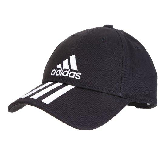 7d921524485c8 Boné Adidas Ess 3 Stripes Cotton Aba Curva - Preto e Branco | Netshoes