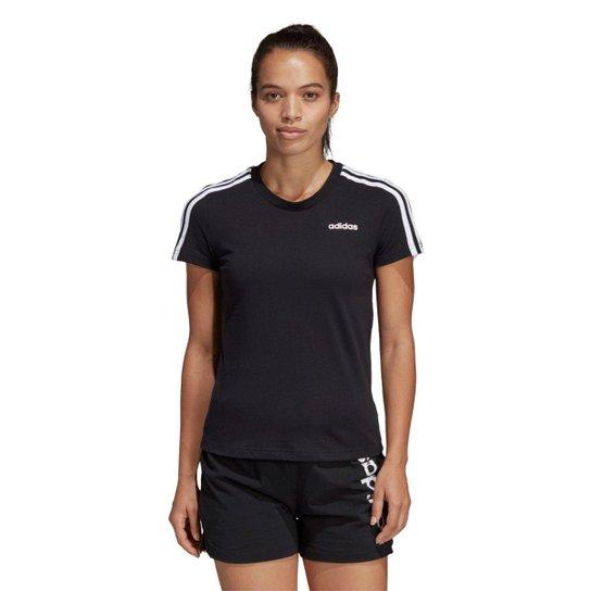 449b1d293 Camiseta Adidas Essentials 3 Stripes Feminina - Preto e Branco ...