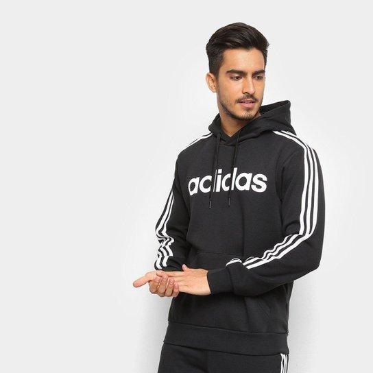 72877d6747 Moletom Adidas Estampa Logo E 3S PO FL Masculino - Preto e Branco