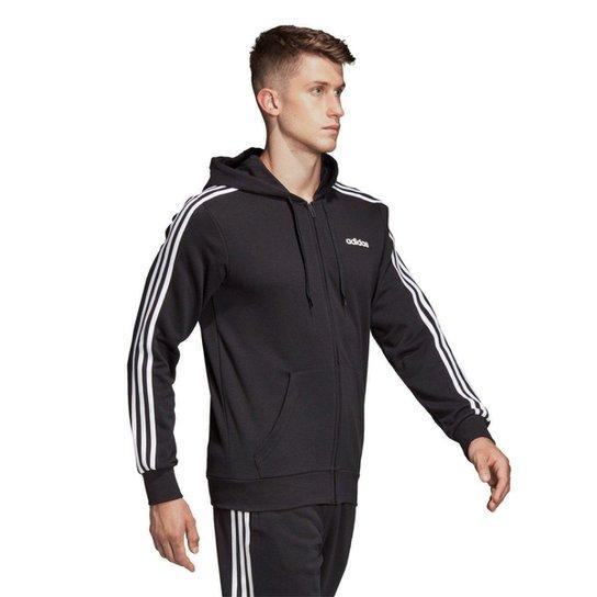 9f9bd9381 Jaqueta Adidas 3S com Capuz Masculina - Preto e Branco | Netshoes