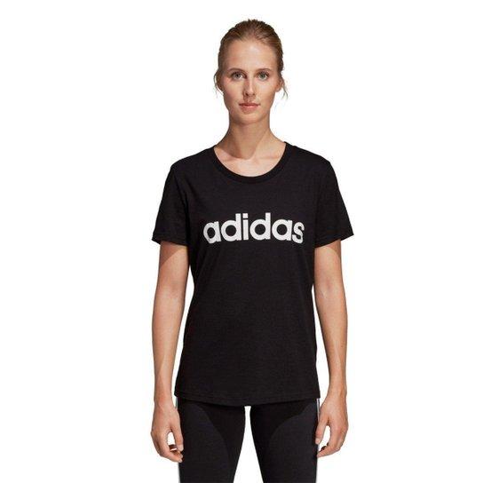 5412247f8 Camiseta Adidas Estampa Logo Slim Feminina - Preto e Branco - Compre ...