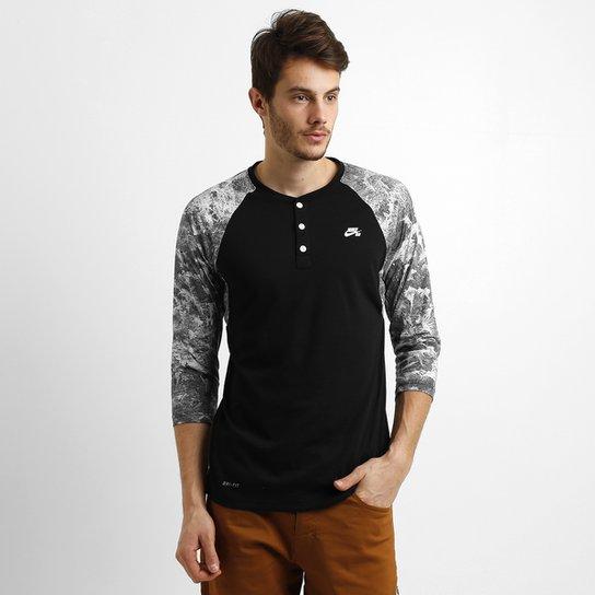 ce93c1aecd16d Camiseta Nike Sb Dri-Fit Slv Fern Henley 3 4 - Compre Agora