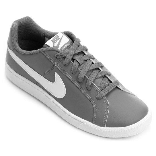 Tênis Couro Nike Court Royale Masculino - Cinza e Branco - Compre ... 26603f95f89c7