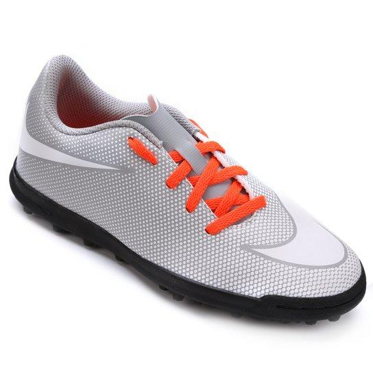 Chuteira Society Infantil Nike Bravata 2 TF - Cinza e Branco ... 78952b2c12022