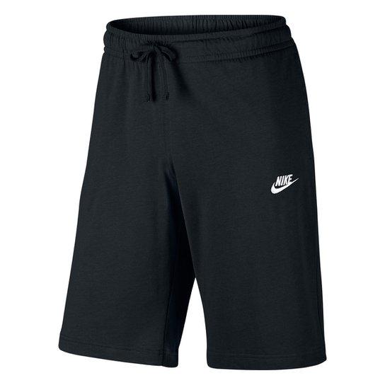 c26f3332fcefc Bermuda Moletom Nike Jersey Club Reta Masculina - Preto e Branco ...