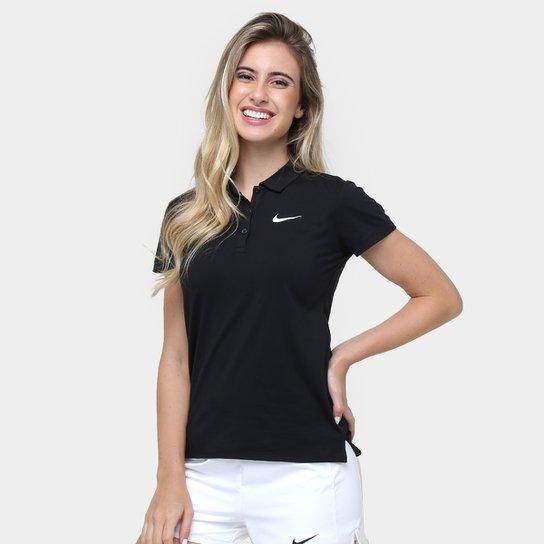 1a9c31b14c Camisa Polo Nike Court Feminina - Preto e Branco - Compre Agora ...